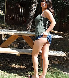 Amazing teen upskirt shots outdoors